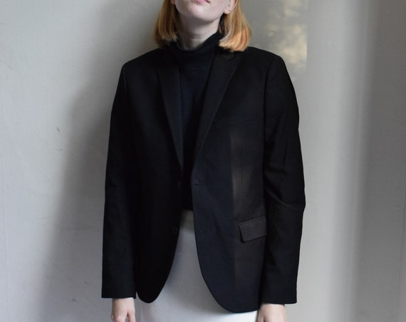 Black Cotton Blazer   |  Print Optional