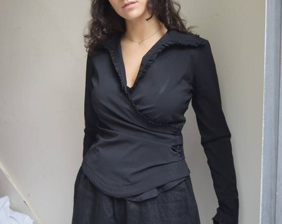 Black Long Sleeve Ruffle Wrap Top  |  Print Optional