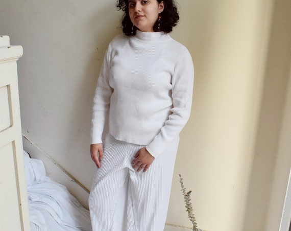 White Ribbed Mock Neck Pullover