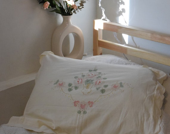 Embroidered Floral Pillow Cover