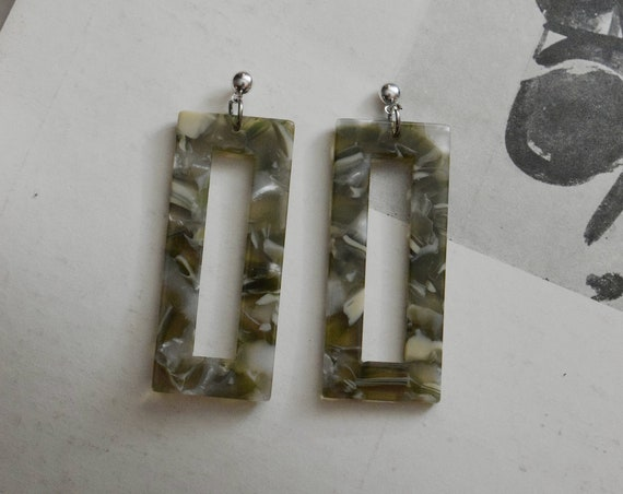 Rectangular Terrazzo Acetate Earring in Grass.