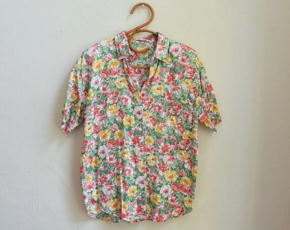 Multi-Coloured Floral Short Sleeve Blouse