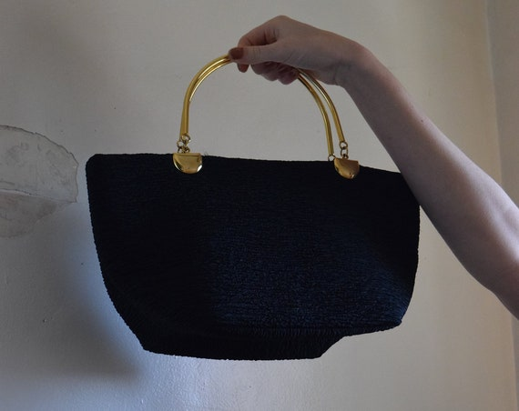 Black Crinkle Half-Moon Handbag