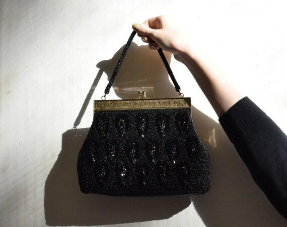 Art Deco Black Beaded Evening Bag.