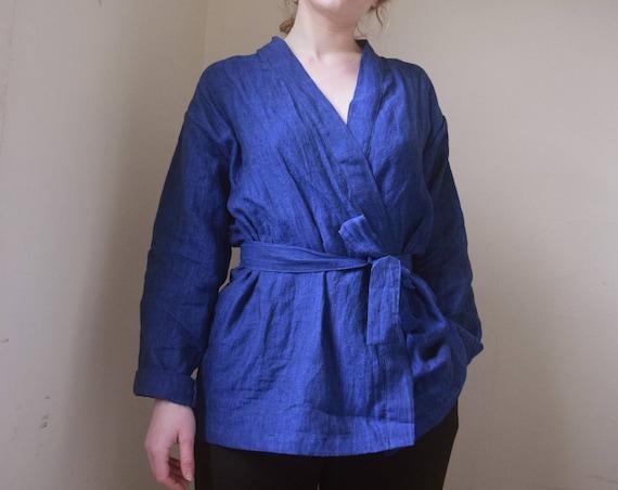 Duality, Long Sleeve Linen Kimono Wrap Top |  Indigo  - Print Optional