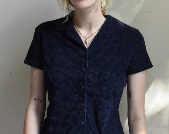 Black Collared Short Sleeve Blouse