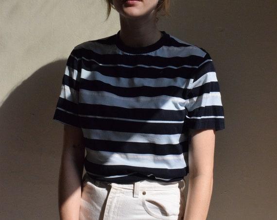 Blue Striped Cotton T-Shirt