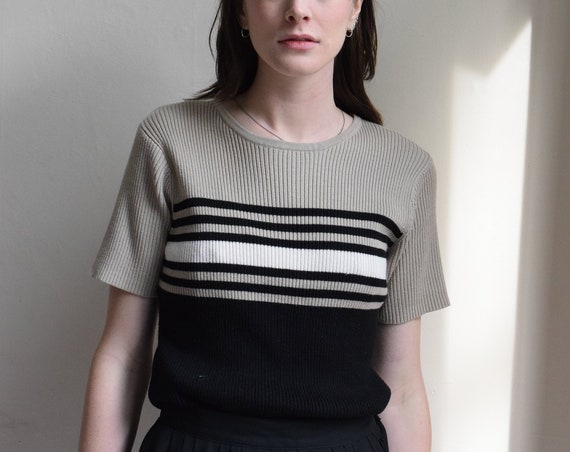 Striped Ribbed Stretch Tee