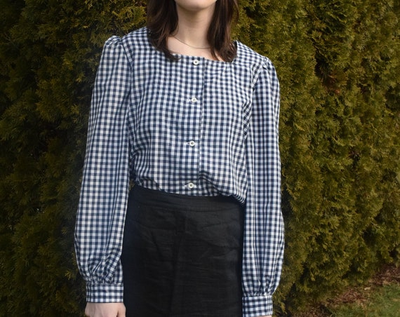 Miona Navy Gingham Blouse.