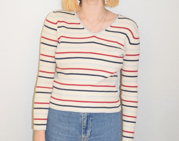 Striped Ribbed V-Neck Pullover