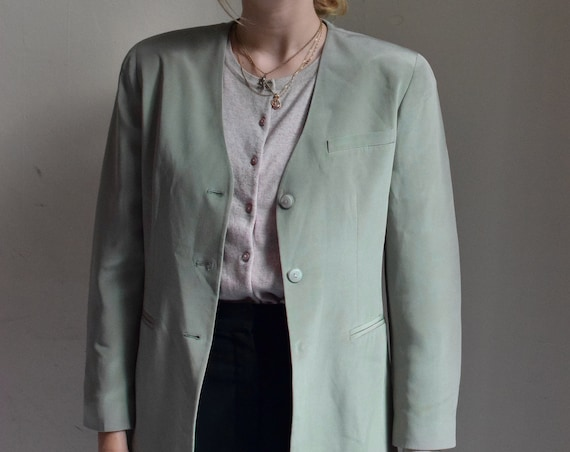 Sage Green Silk Blazer