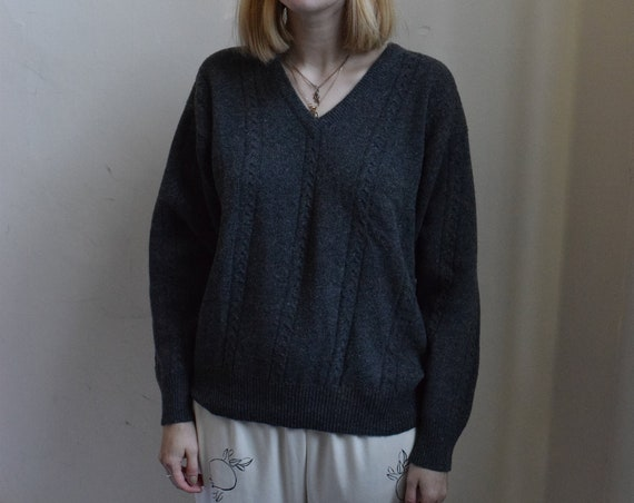 Charcoal Grey Lambswool V- neck Sweater