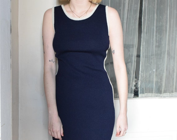 Navy Knit Wool Sleeveless Dress