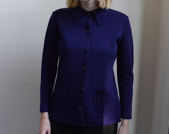 Navy Blue Knit Chore Shirt.