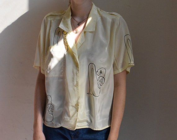 Cream Leah Button Up Blouse