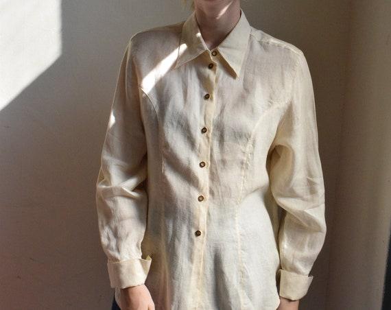 Cream Linen Long Sleeve Blouse | Print Optional