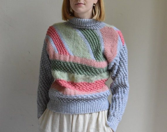 Color Block Knit Turtleneck Sweater