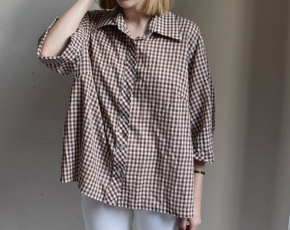 Brown and White Gingham Bell Shaped Blouse