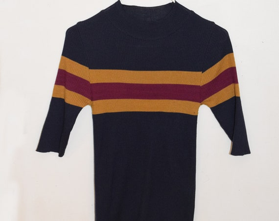 Varsity Striped Mock Neck Ribbed Tee