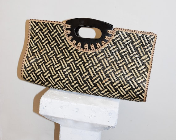 Brown Crosshatch Woven Clutch