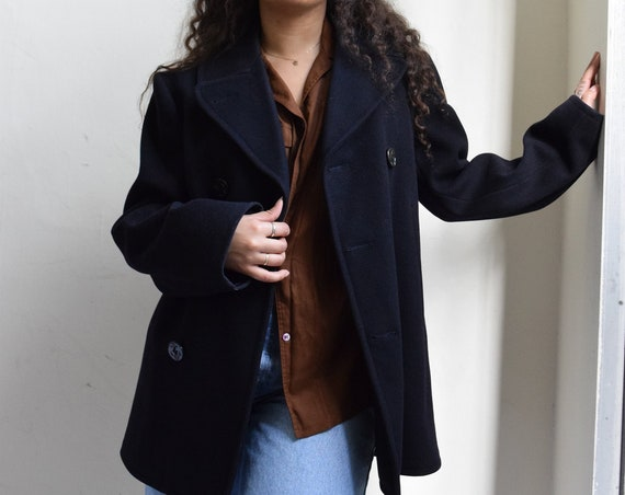 Heavy Wool Double-Breasted Navy Jacket