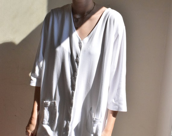 Oversized White Button Up Short Sleeve Blouse | Print Optional