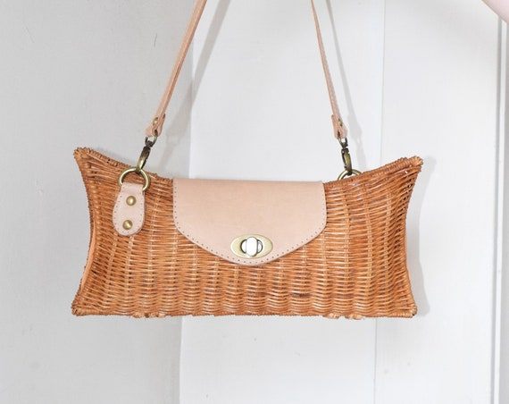 Wicker & Apricot Clutch