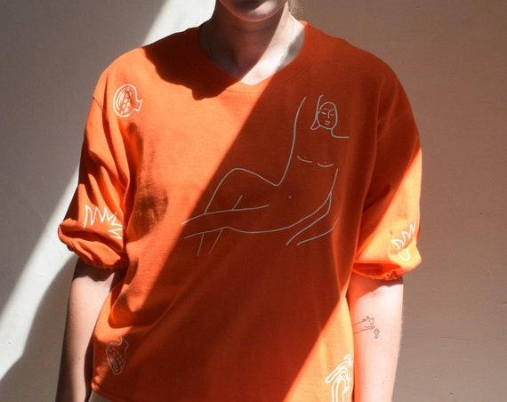 Orange Wilson Gathered Sleeve Semi-Crop Top