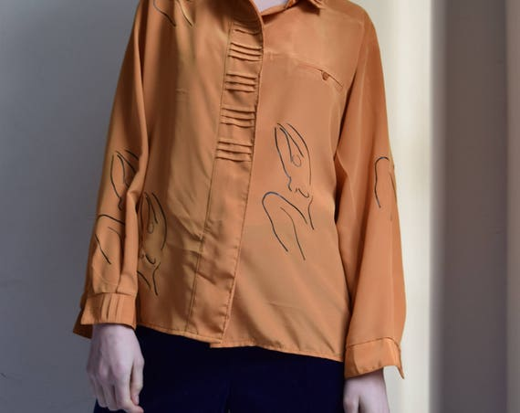 Meridian Woman Gold Polyester Long Sleeve Shirt
