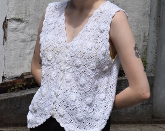 White Cotton Crochet Sleeveless Button Up Blouse