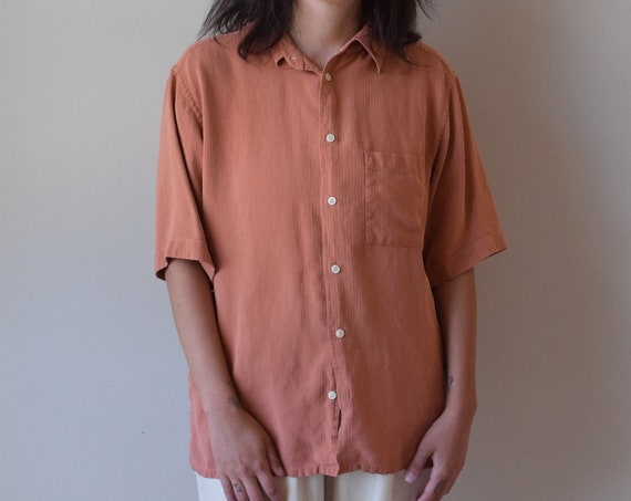 Peach Silk Twill Button Down