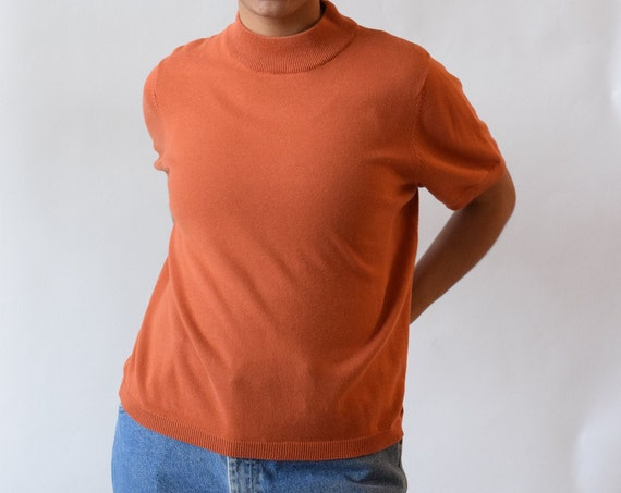 Pumpkin Short Sleeve Mock Neck Knit