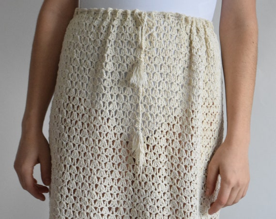 Cream Crochet Drawstring Skirt