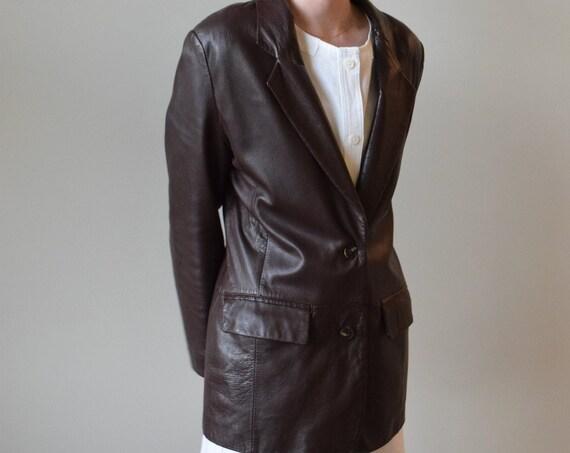 Chocolate Leather Blazer