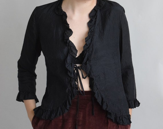 Black Silk Drawstring Blouse  |  Print Optional
