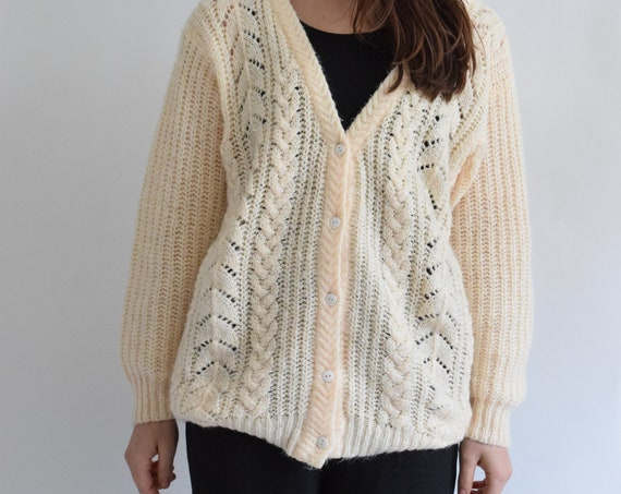 Loose Knit Butter Fishermans Cardigan
