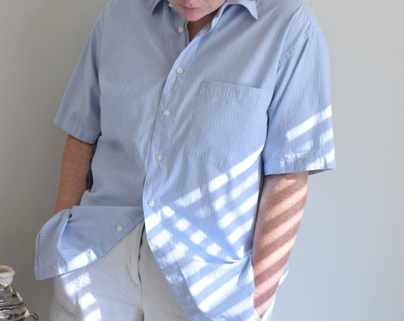 Pale Blue Pinstripe Short Sleeve