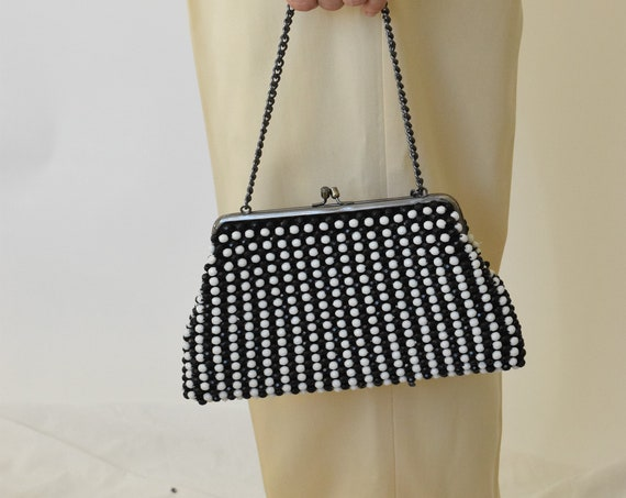 Black & White Striped Beaded Bag
