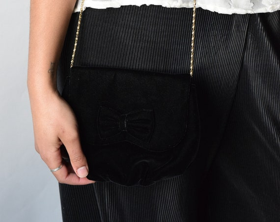 Black Velvet Bow Mini Purse