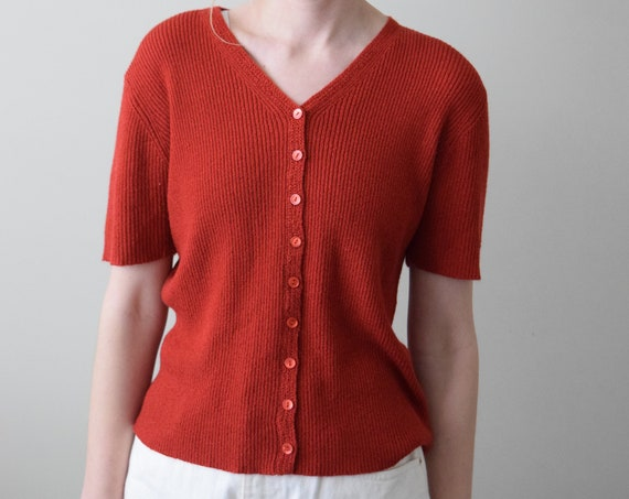 Brick Red Knit V-neck