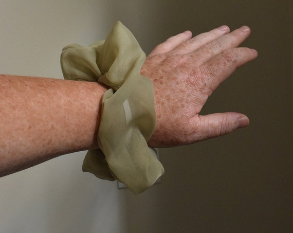 Sheer Olive Hair Scrunchies