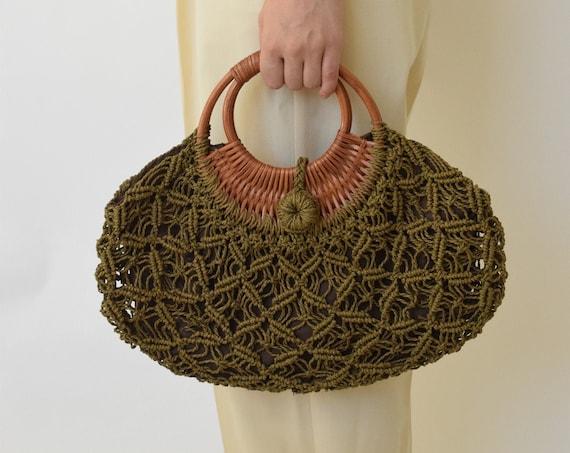 Olive Rattan Handbag