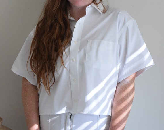 Reworked Cropped White Blouse