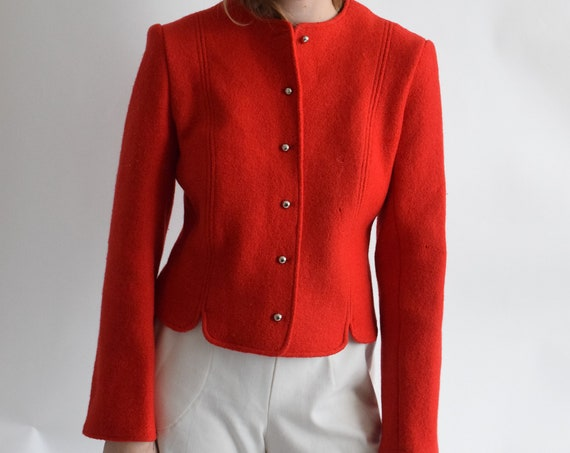 Vintage Larry Levine Red Wool Waist Coat