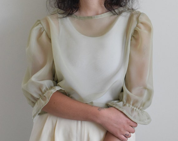 Bobbi Sheer Olive Puff Sleeve Tee