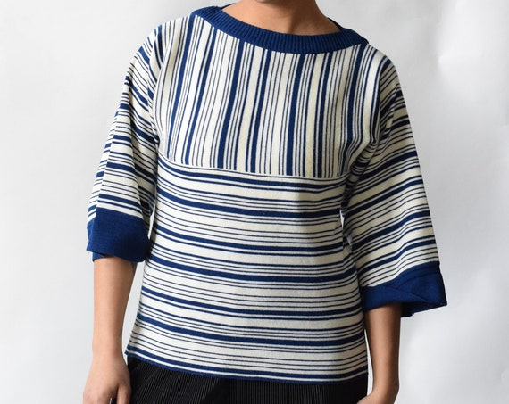 Navy Blue and White Striped Knit