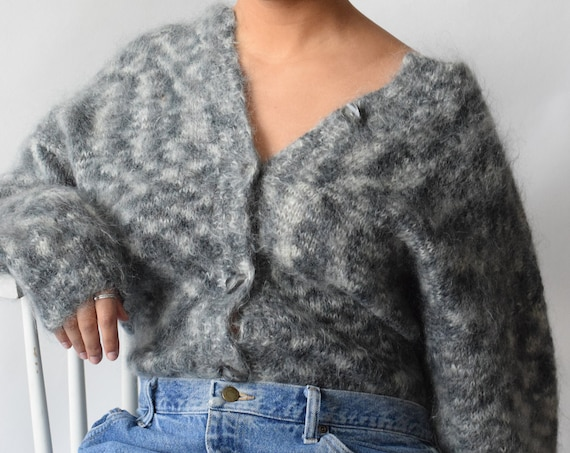 Handknit Charcoal Mohair Cardigan