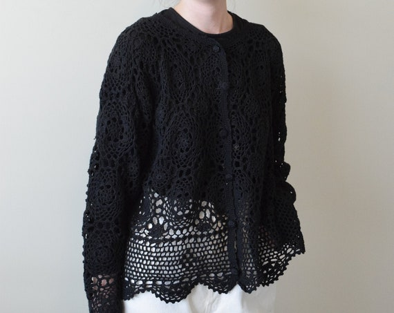 Black Crochet Button Up