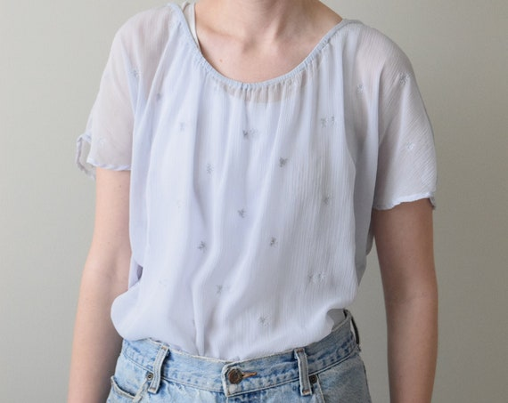 Sheer Mist Blue Embroidered Blouse