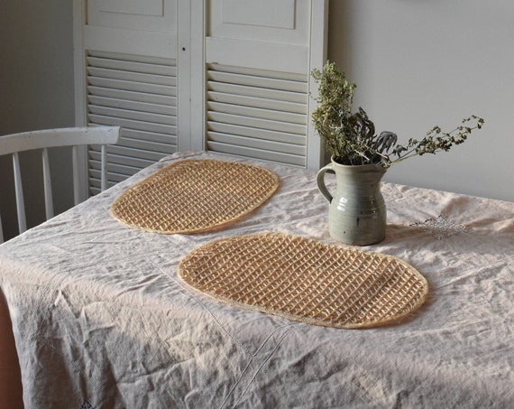 Set of Two Woven Rattan Placemats